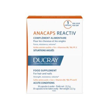 Ducray Anacaps Reactiv Fortificante 30 Capsulas, suplemento alimentar para o couro cabeludo, cabelo e unhas. Pode ser usado um mês após o tratamento de cancro.