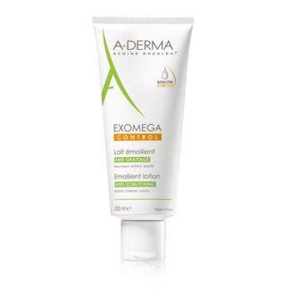A-Derma Exomega Control Leite Emoliente 200ml o leite emoliente EXOMEGA CONTROL cosmética estéril acalma todas as peles secas de tendência atópica desde o nascimento.
