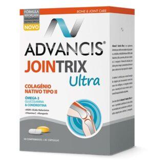 Advancis Jointrix Ultra 30 Comprimidos 30 Cápsulas, suplemento alimentar. Com a finalidade de regeneração das cartilagens e de aliviar a dor nas articulações. Ainda assim contém a ação anti-inflamatória.