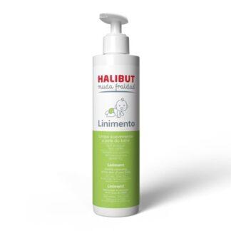 Halibut Muda Fraldas Linimento 200ml, linimento sem sabão nem necessidade de enxaguar, ideal para uma limpeza suave da pele do bebé a cada muda de fralda.