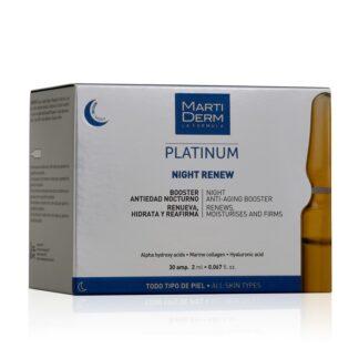 Martiderm Platinum Night Renew 30 Ampolas, com o propósito de regenerar e hidratar a pele com um efeito múltiplo