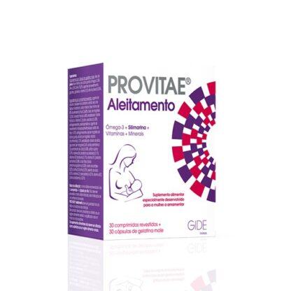 Provitae Aleitamento 30 Cápsulas + 30 Comprimidos,um comprimido + uma cápsula de Provitae Aleitamento contêm as quantidades diárias de DHA, EPA, magnésio, ferro, vitamina C, zinco, niacina, vitamina E, ácido pantoténico