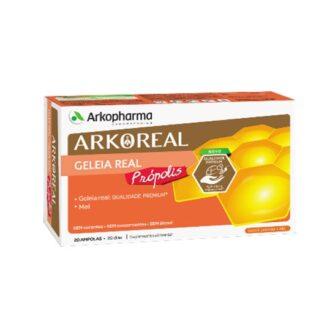 Arkoreal Geleia Real + Própolis 20 Ampolas, é uma substância excretada pelas abelhas obreiras e é o alimento exclusivo da abelha rainha durante toda a sua vida.