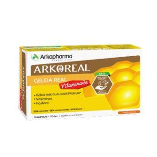 Arkoreal Geleia Real Vitaminada 20 Ampolas, contribuem para o normal metabolismo produtor de energia, para uma normal função psicológica, para a redução do cansaço e da fadiga e para um desempenho mental normal.