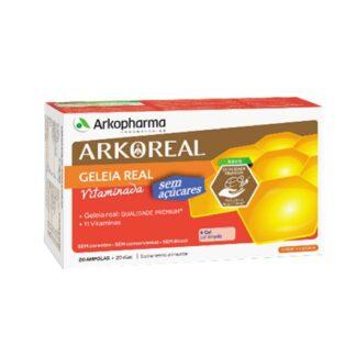 Arkoreal Geleia Real Vitaminada Sem Açúcar 20 Ampolas, contribui para a manutenção de uma pele e uma visão normais, para o normal metabolismo dos macronutrientes e para o normal funcionamento do sistema nervoso, para a manutenção de ossos normais e para a manutenção do normal funcionamento muscular.
