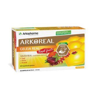 Arkoreal Royal Fruits 20 Ampolas, suplemento alimentar à base de Geleia Real, Baobab, Goji e Romã. contém açúcares e edulcorantes (stevia). Sem ingredientes químicos.