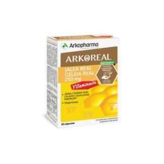 Arkoreal Geleia Real 250mg Vitaminada 30 Cápsulas, contribui para o normal metabolismo produtor de energia, para a redução do cansaço e da fadiga e para o normal funcionamento do sistema imunitário.
