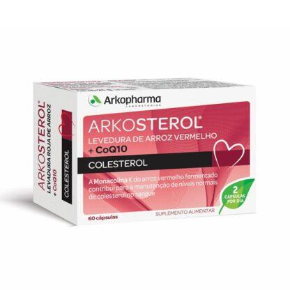 Arkosterol Levedura de Arroz Vermelho + CoQ10 60 Cápsulas, suplemento alimentar à base de levedura de arroz vermelho e policosanóis da cana de açúcar. Contribui para a manutenção dos níveis normais de colesterol no sangue.