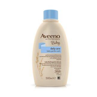 Aveeno Baby Banho Delicado 500ml, cuidado de banho que limpa delicadamente e deixa a pele seca e delicada do bebé com uma sensação de hidratação e suavidade.