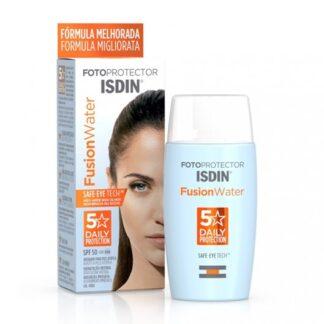 Isdin Fotoprotector Fusion Water SPF50 50ml, fotoproteção ultraligeira de uso diário para atividades ao ar livre. Fotoprotetor facial de fase aquosa e textura ultraligeira que proporciona hidratação intensa, absorção imediata e garante uma elevada proteção UV