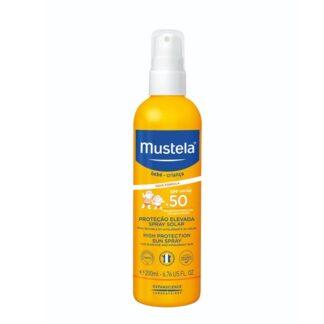 Mustela Spary Solar SPF50+ 200ml, adaptado certamente a todos os tipos de pele. Incluindo aliás peles atópicas e peles intolerantes e reativas. Proteção Muito Elevada.