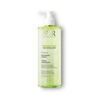 SVR Sebiaclear Água Micelar 400 ml, com a finalidade de remoção de maquilhagem. Além disso purifica e limpa o rosto. Bem como remove impureza e o excesso de oleosidade do rosto.