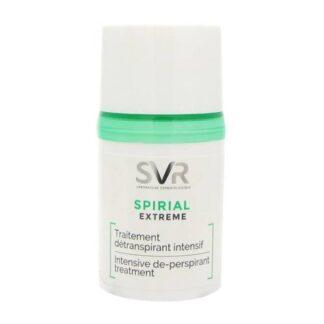 SVR Spirial Extreme Anti Transpiração 20 ml,com a finalidade de anti transpirante normal ou excessiva. nas axilas. É contudomais concentrado que um anti transpirante normal. Além dissoelimina os maus odores, assim comooferece uma sensação de frescor e suavidade.