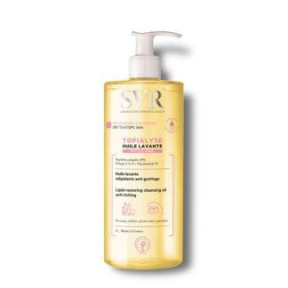 SVR Topialyse Óleo Lavante Micelar 1000 ml,com a finalidade de limpeza e cuidado para peles secas e atópicas. Ainda assim considerando o conforto e a nutrição necessária para a pele.