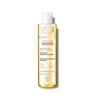 SVR Topialyse Óleo Lavante Micelar 200 ml,com a finalidade de limpeza e cuidado para peles secas e atópicas. Ainda assim considerando o conforto e a nutrição necessária para a pele.