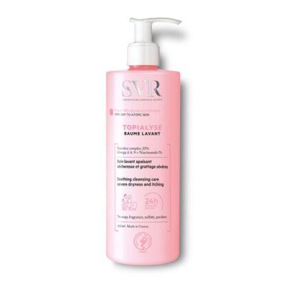 SVR Topialyse Bálsamo Lavante 400 ml,com a finalidade de limpar e apaziguar a secura e prurido. Além disso provê o alívio duradouro da sensação de desconforto da pele muito seca e atópica.