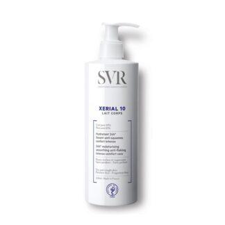 SVR Xérial 10 Leite Corporal 400 ml,com a finalidade deassegura uma hidratação, bem como uma ação anti descamação. De tal forma quealisa e suaviza a pele, assim como proporciona um conforto intenso.