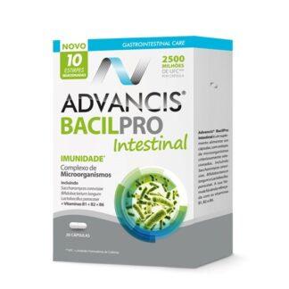 Advancis Bacilpro Intestinal 20 Cápsulas, suplemento alimentar. Com a finalidade de regular o trânsito intestinal, reduzir a incidência / duração de episódios de diarreia e reforçar o sistema imunitário.