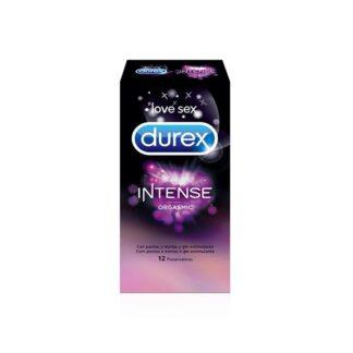 Durex Intense Orgasmic 12 Preservativos, textura com pontos e estrias. Além disso contém gel estimulante Desirex, com a finalidade de proporcionar sensações de calor, frescura ou titilações