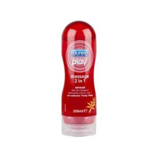 Durex Play Massage 2 em 1 Ylang Ylang 200 ml, lubrificante íntimo e gel de massagem. Com a finalidade de proporcionar uma massagem sensual.