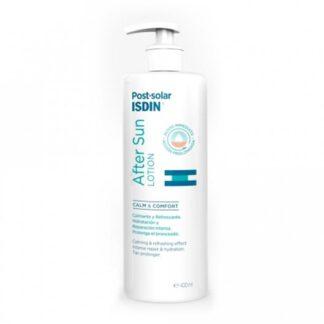Isdin After Sun Lotion 400 ml, com a finalidade de acalmar, refrescar e prolongar o bronzeado. Além disso contará com a máxima segurança e eficácia dos cuidados Isdin.