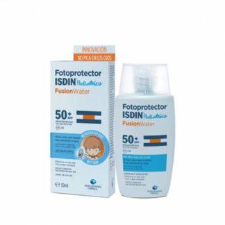 Isdin FotoProtetor Fusion Water Pediatrics FPS50 50 ml, o primeiro fotoprotetor que não arde nos olhos. Fotoprotetor facial especialmente formulado para a pele da criança e do bebé.