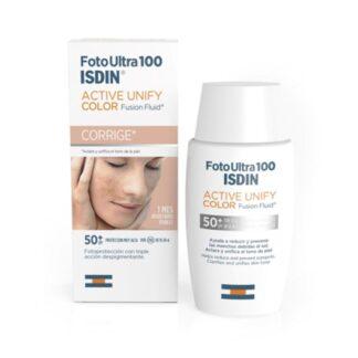 Isdin FotoUltra 100 Active Unify Color FPS 50+ 50 ml,com a finalidade de aclarar e uniformizar o tom da pele. Ainda assim ajuda a reduzir e a prevenir as alterações de pigmentação devidas ao sol.