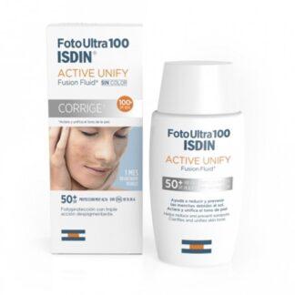 Isdin FotoUltra 100 Active Unify Sem Cor FPS 50+ 50ml,com a finalidade de aclarar e uniformizar o tom da pele. Ainda assim ajuda a reduzir e a prevenir as alterações de pigmentação devidas ao sol.