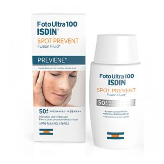 Isdin FotoUltra 100 Spot Prevent Fusion Fluid FPS 50+ 50 ml,com o propósito de proteger diariamente a pele altamente sensível ao sol. Por outro lado, ajuda a prevenir alterações de pigmentação causadas pelo sol.