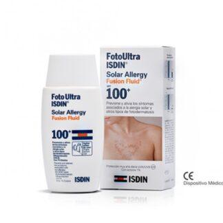 Isdin FotoUltra Solar Allergy Fusion Fluid FPS 100+ 50 ml, com a finalidade de prevenir e aliviar os sintomas associados à alergia solar. Além disso é um dispositivo médico com UVA 40 e FPS 107.