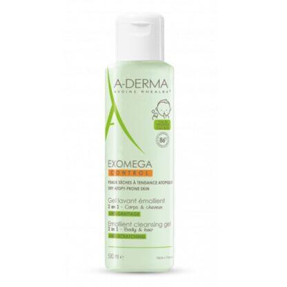 A-Derma Exomega Control Gel Lavante Corpo e Cabelo 500 ml,funciona certamente como um 2 em 1. Limpa, assim como, protege a pele e o cabelo sensível do bebé. Ainda assim é muito recomendado para peles atópicas.