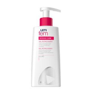 Letifem Woman Gel Íntimo 250ml, especialmente formulado para a higiene íntima diária da mulher.