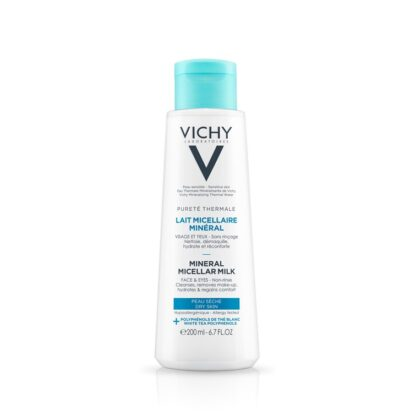 Vichy Pureté Thermale Leite Micelar Pele Seca 200ml leite Micelar para pele seca remove as impurezas e desmaquilha.