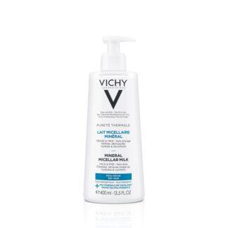 Vichy Pureté Thermale Leite Micelar Pele Seca 400ml, leite micelar para pele seca remove as impurezas e desmaquilha.