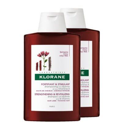Klorane Champô Ritual Quinina e Vitaminas B 2x400ml, favorece o crescimento do cabelo graças à ação conjunta da Quinina com as Vitaminas B. Um verdadeiro concentrado de força que devolve vigor e resistência ao cabelo, facilitando o desembaraçar.