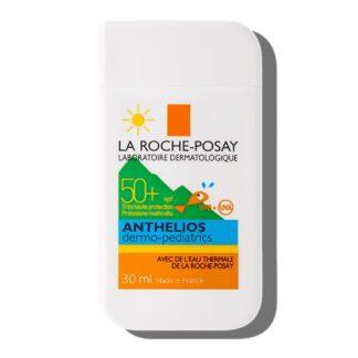 La Roche Posay Anthelios Pocket SPF50+ Dermo-Pediatrics 30ml, com a finalidade de permitir um largo espectro de proteção solar contra os UVA e UVB para o rosto infantil.