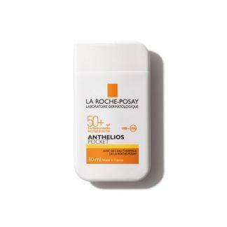 La Roche Posay Anthelios Pocket SPF50+ S/Perfume 30ml, com a finalidade de permitir um largo espectro de proteção solar contra os UVA e UVB para o rosto infantil.