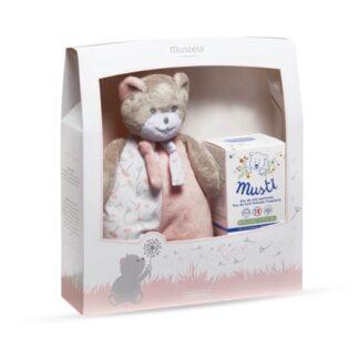 Mustela Coffret Eau de Soin Musti Rosa é composto pelo Eau de Soin Fragrância Perfumada e o ursinho Musti.