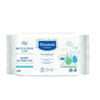 Mustela Toalhetes de Água com Algodão BIO 60 Toalhetesultra suaves, compostos por algodão BIO que limpam delicadamente o rosto, as mãos, as nádegas e o corpo do bebé.