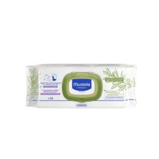 Mustela Toalhetes de Limpeza com Azeite 50 Unidades, com a finalidade de limpar e proteger suavemente a zona da fralda do bebé, desde o nascimento.