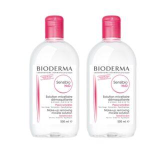 Bioderma SensibioDuo PackH2O Água Micelar 2x500ml, perfeitamente compatível com a pele, os seus ésteres de ácidos gordos, os elementos que constituem as micelas, são semelhantes aos fosfolipídos das membranas celulares das células da pele ajudando a reconstruir ofilme hidrolipídicoda pele.
