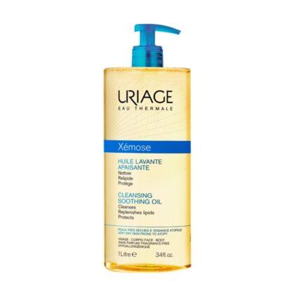 Uriage Xemose Óleo de Limpeza 1000ml, este óleo avante protege contra o efeito secante da água e apazigua o prurido. A sua espuma fina e ultra-suave proporciona um conforto imediato e duradouro para a pele seca a muito seca.