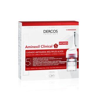 Vichy Dercos Technique Aminexil Clinical 5 - Mulher 12 ampolas Tratamento antiqueda intensivo, que atua nas 5 causas de queda de cabelo, para mulher.