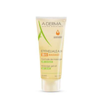 O gel-óleo para massagem A-Derma Epitheliale AH Duo Gel-Óleo de Massagem atenua a aparência das marcas na pele, e acalma de forma imediata e duradoura