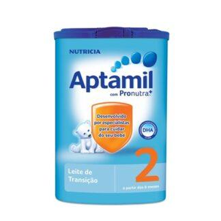 Aptamil 2 é um leite de transição, indicado para bebés a partir dos 6 meses de vida até ao final da lactância, como parte de uma dieta diversificada.