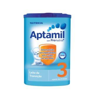Aptamil 3 é um leite de transição, indicado para bebés a partir dos 9 meses de vida até ao final da lactância, como parte de uma dieta diversificada.