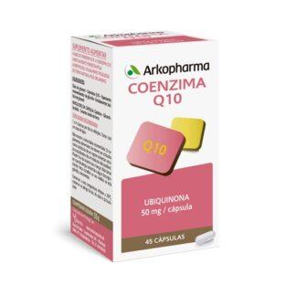 Arkopharma Coenzima Q10 45 Cápsulas, suplemento alimentar à base de Coenzima Q10. A Coenzima Q10, habitualmente fornecida pela alimentação, é igualmente produzida de forma natural pelo nosso organismo.