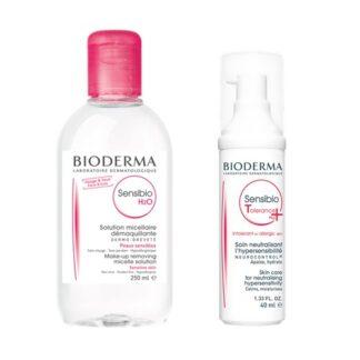 Bioderma Sensibio Tolerance+ 40ml + H2O Água Micelar 250ml, pack que contém um creme hidratante diário e uma água micelar ideais para a pele sensível e intolerante, alérgica e muito reativa.