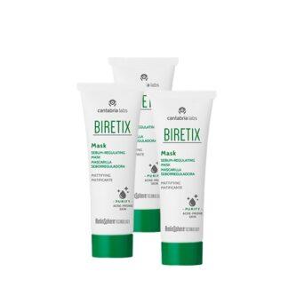 Biretix Pack Mask Máscara Seboreguladora 3x25ml,máscara purificante de uso semanal como complemento de cuidado para a pele com tendência acneica, reduzindo o excesso de sebo e a formação de comedões