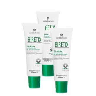 Biretix Pack Tri-Active Gel Anti-Imperfeições 3x50ml , hidrogel fresco com uma textura sedosa e ação queratolítica, purificante e seboreguladora, para o cuidado da pele com acne moderada e na acne da mulher adulta